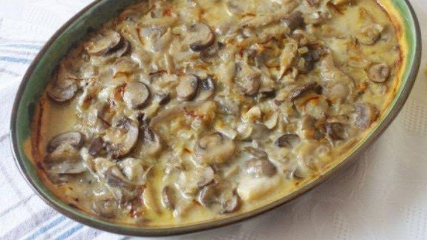 receta de Gallo al horno con champiñones y patatas