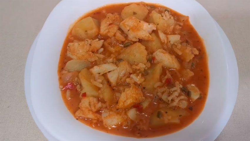 Receta de Arroz con patatas y bacalao